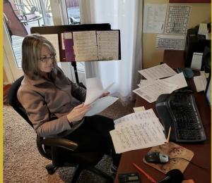 Carla Howell preparing music for studio recording
