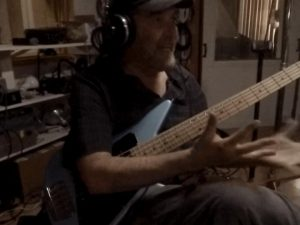 Dave Hines on bass guitar playing Carla Howell music at Wellspring Sound Studio