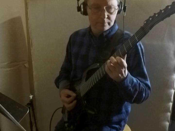 Les Fish playing guitar on Carla Howell music at Wellspring Sound Studio