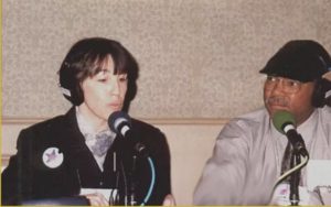 Carla Howell being interviewed by radio host Brian Thomas in Massachusetts